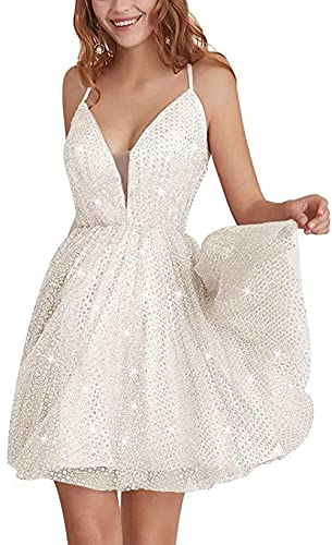 Mujeres Impresionante Brillante Fuera del Hombro A-Line Vestido de Patinadora Vestidos de Regreso a casa Vestido de Fiesta Formal con Brillo Corto 2021-Short-white_6XL