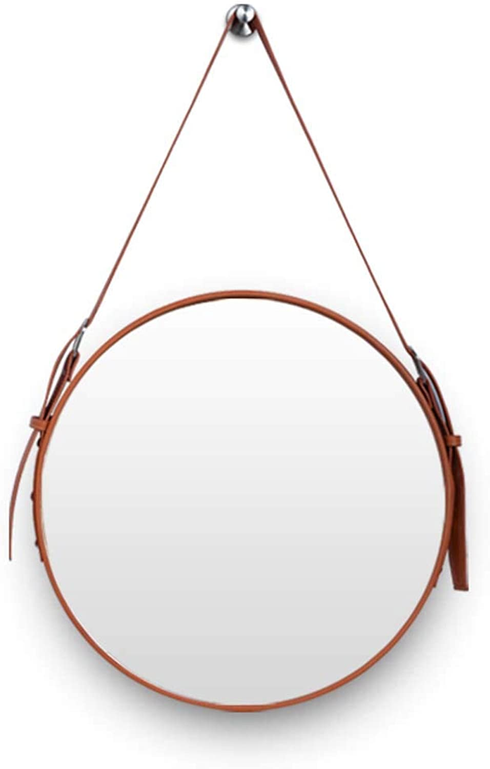Decorative Mirrors Leather Round Wall Mirror Makeup Mirror with Hanging Strap Silver Hardware Hook(orange Yellow,Diameter 20-28Inch)