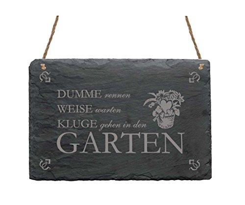 Schiefertafel DUMME RENNEN - WEISE WARTEN - mit Motiv & Spruch - Schild Dekoschild Dekoration 22x16cm