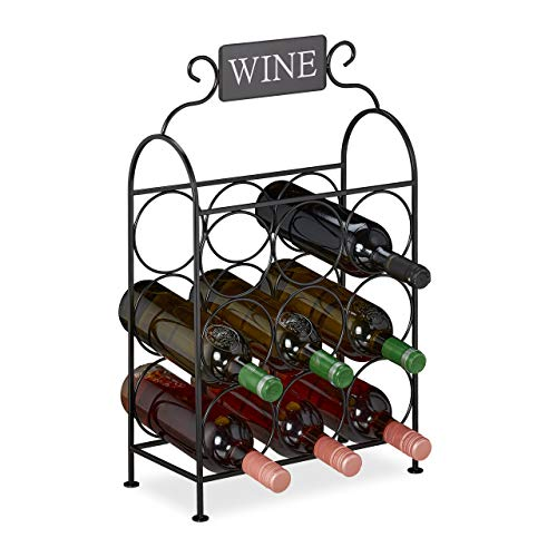 Relaxdays - Botellero para 9 Botellas de Vino Decorativo para Cocina y salón, Metal, 55 x 34 x 17,5 cm, Color Negro
