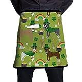 Pitbull Leprechaun - Delantal para hombre y mujer, cintura media corta, 21.3 x 17.7 pulgadas, con un bolsillo camarero, cocina y chef delantales para restaurante, tienda, jardín y trabajo