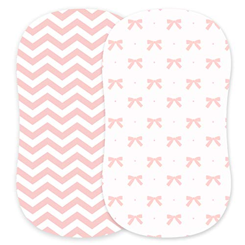 Cuddly Cubs Bassinet Sheets Set – 2 Pack – Snuggly Soft Jersey Cotton Cradle Sheets – Fitted Perfectly for Halo Bassinet, Fisher Price, Delta, Graco and Other Oval or Rectangle Basinettes – Pink