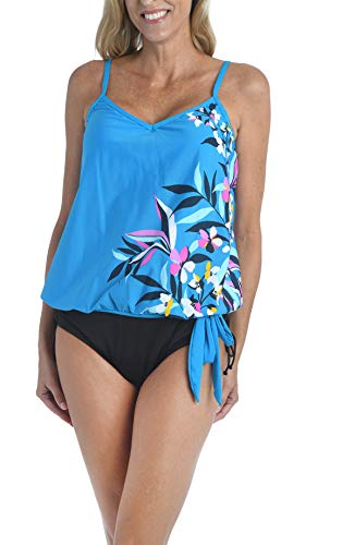 24th & Ocean Damen Side Tie Tankini Swimsuit Top Tankinioberteil, Blaugrün/tropisches Versteck, Small