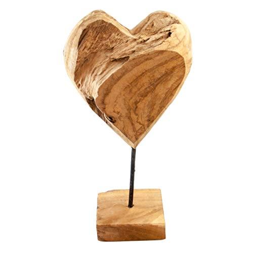 Glaskönig Deko Holzherz aus Teak-Holz Höhe 40cm | Teakholzherz auf Ständer mit Fuß | Indonesisches Herz aus Massivholz | Indonesisches Kunsthandwerk jedes Herz EIN Unikat