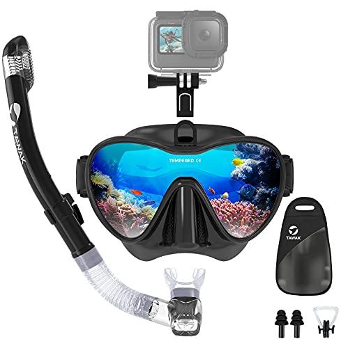 TAWAK Schnorchelset mit abnehmbare Halterung für Actionkamera, Anti-BeschlagAnti-Leck Taucherbrille mit Trocken Schnorchel & weichen Mundstück, Tauchset, Schwimmset, Tauchermaske für Erwachsene