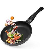 Gotoll Stekpanna 24 cm induktion, stekpanna med avtagbart handtag, stekpanna grillpanna belagd idealisk för vass stekning och stekta ägg, gjuten aluminium