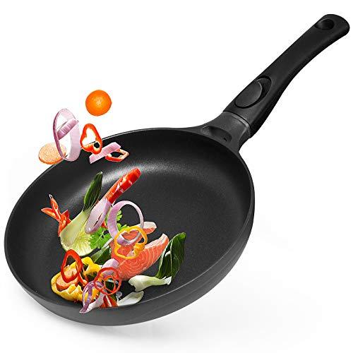 Gotoll Bratpfanne 24 cm Induktion, Steakpfanne mit abnehmbarem Griff, Pfanne Grillpfanne beschichtet ideal für scharfes Anbraten und Spiegeleier, Aluminiumguss