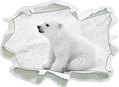 niedliches Eisbär Baby Kunst B&W, Papier 3D-Wandsticker Format: 92x67 cm Wanddekoration 3D-Wandaufkleber Wandtattoo