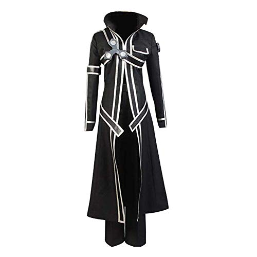 tianxinxishop Uomo Halloween Anime Cosplay Kirigaya Kazuto Costume Giacca Lunga di Kirito Colletto in Piedi Set Completo, XS