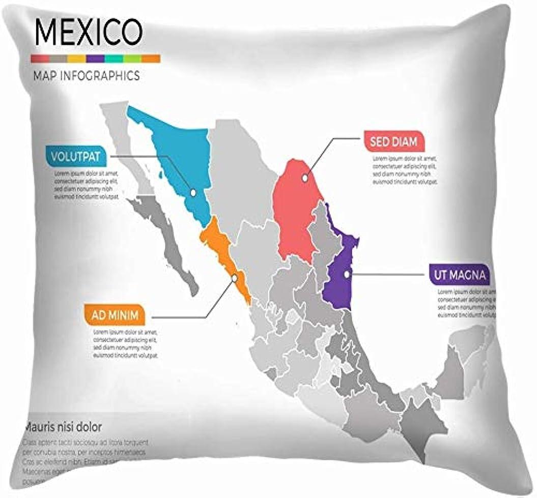 しわダウンタウン集中的なメキシコマップインフォグラフィックテンプレート地域教育投げる枕カバーホームソファクッションカバー枕カバーギフト45x45 cm