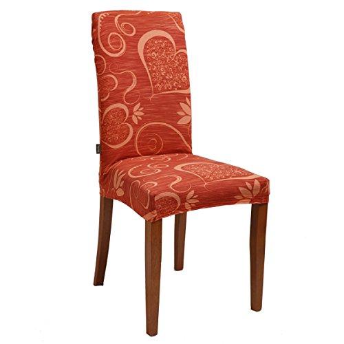 Joker Coprisedia vesti sedia millerighe elasticizzato 2 pezzi linea Cuori L671 TRAMONTO / ARANCIO