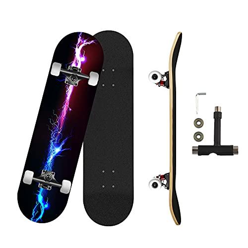 Skateboard Blitz Komplett Board Funboard 79x20cm mit 7-lagigem Ahornholz ABEC-11 Kugellager 92A PU Rädern Skateboard für Jungen, Mädchen, Jugendliche, Straße, Erwachsene, Anfänger