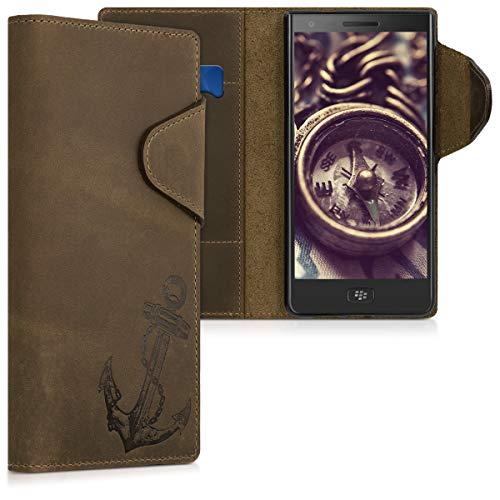 kalibri Wallet Hülle kompatibel mit BlackBerry Motion - Hülle Leder - Handy Cover Handyhülle Anker Vintage Braun