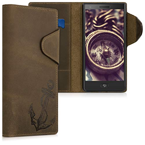 kalibri Hülle kompatibel mit BlackBerry Motion - Leder Handyhülle - Handy Wallet Hülle Cover Anker Vintage Braun