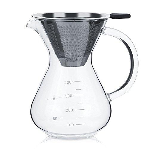 Hakeeta, Pour Over, koffiezetapparaat, 400 ml, met permanent filter van roestvrij staal en karaf Koffiemaker glazen koffiekan, transparant
