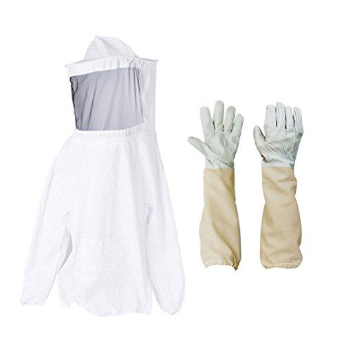 Bestomz de protection Apiculture Veil Smock équipement Apiculteur Suit Manteau avec chapeau et gants
