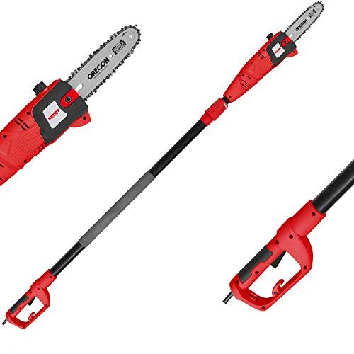 HECHT Elektro-Hochentaster 975 W Ast-Kettensäge Profi-Astsäge (750 Watt, Schwertlänge: 24 cm, Arbeitshöhe: bis 4,5 m)