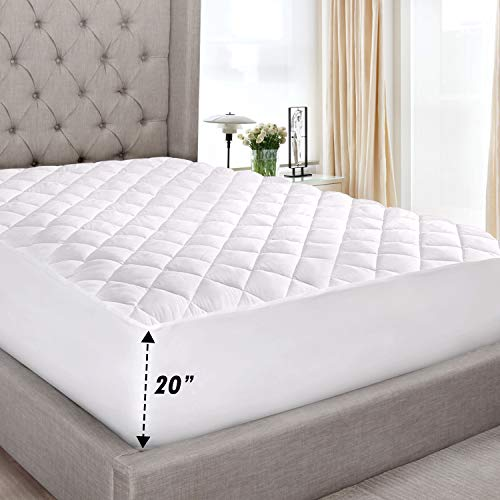 """Abit Comfort Mattress cover, Quilted fitted mattress pad queen fits up to 20"""" deep hypoallergenic comfortable soft white cotton-poly"""