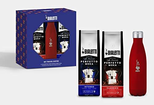 Bialetti Travel Coffee Set: Rote Thermoflasche 500 ml + 2 Beutel gemahlener Kaffee Perfetto Moka (klassischer und intensiver Geschmack) von 250 g, Geschenkbox, Confezione Regalo