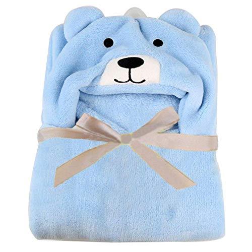 JYCRA Baby-Badetuch, Cartoon-Bär, weicher Plüsch, Wickeltuch, Decke für Neugeborene, Jungen und Mädchen (0–18 Monate), Plüsch, blau, 96x76cm