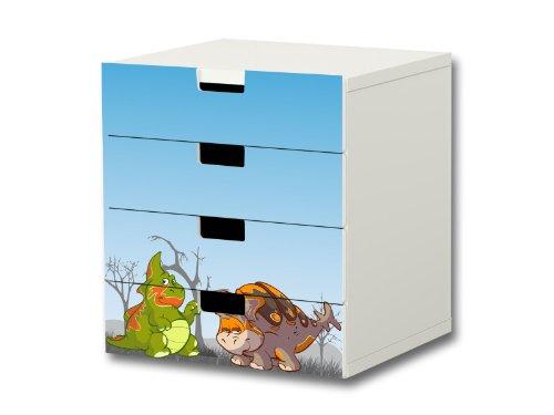 Dinosaurio pegatinas muebles | S4K15 | adecuado para la cómoda con 4 cajónes STUVA de IKEA | (mueble no incluido) STIKKIPIX