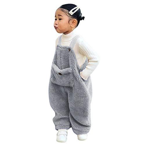 Flanell Strapshose Overall Baby, Mädchen/Jungen - Baumwollmischung - Plüsch Latzhose mit Knöpfen Unisex Winter Hose mit Hosenträger (Grau, 110)