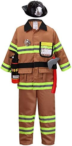 YOLSUN Tan Fireman Costume for Kids Boys and Girls Firefighter Dress up 7 pcs 6 7 Years product image