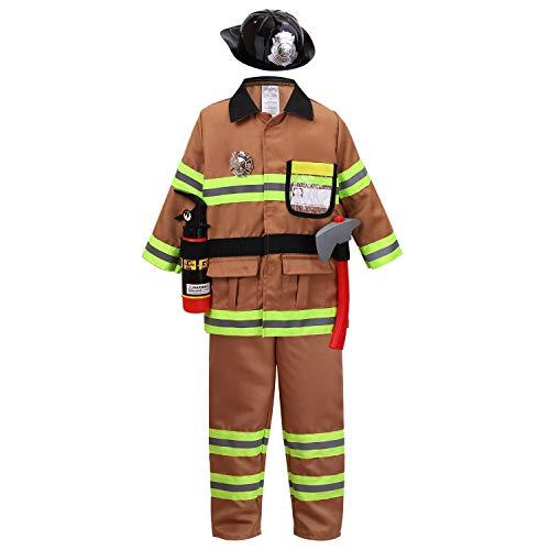 YOLSUN Tan Fireman Costume for Kids, Boys' and Girls' Firefighter Dress up (7 pcs) 4-5 Years
