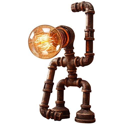 Vintage smeedijzeren tafellamp, creatieve LED waterbuisverlichting decoratieve leeslamp antieke bar restaurant woonkamer slaapkamer nachtkastje DIY tafellamp