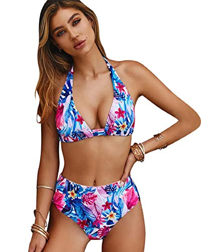Yuson Girl - Conjunto de bikini push up, 2 piezas, talla alta, Floral rosa, XL