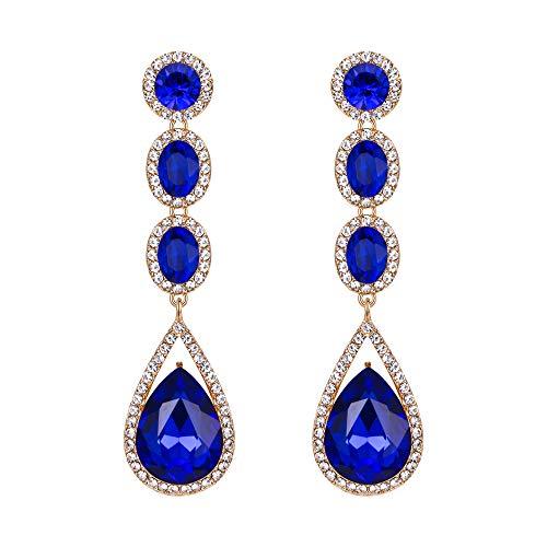 EVER FAITH Mujer Cristal Austríaco Boda Moda Lágrima Araña Largo Pendientes Colgante Azul Tono Dorado