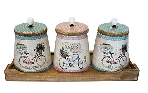 Keyhome Holzkiste Set 3 Vorratsdosen mit Tablett Vintage Shabby Chic Aufbewahrungsdose Küche