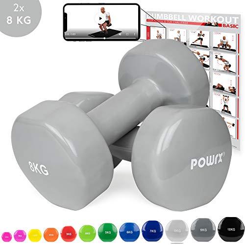 POWRX - Mancuernas Vinilo 16 kg Set (2 x 8 kg) + PDF Workout (Rosa Oscuro)