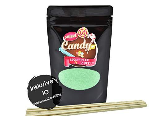 Hopser Food Fun Aromazucker Inklusive 10 Zuckerwattestäbe   Geschmack Apfel   Farbzucker für Zuckerwatte, Zuckerwattemaschinen, Popcorn, Dekorieren, 1 x 180g