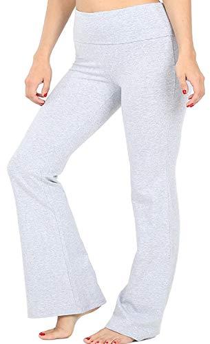 Zenana Women Fold Over Waist Cotton Stretch Flare Leg Boot Cut Yoga Pants Leggings H Grey Medium