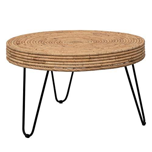 Bloomingville Woven Rattan Table with Black Metal Legs Tisch, Natur
