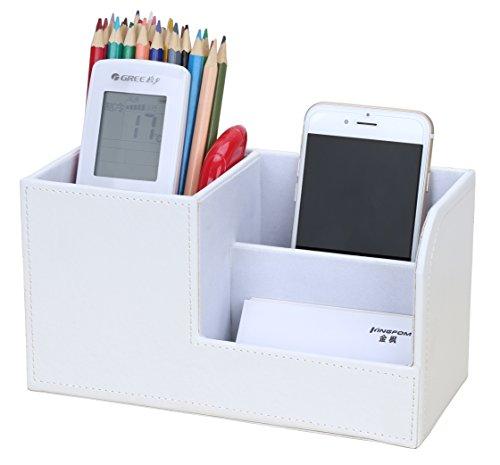 KINGFOM Multifunktions Schreibtisch Organizer 3 Speicherabteil Stifteköcher (Weiß)