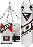 RDX Sac de Frappe Rempli Lourd Punching Ball MMA Muay Thai Kickboxing Arts Martiaux Boxe avec Gants Chaine Suspension Adulte Punching Bag