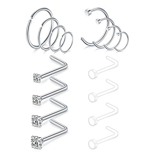Nose Ring Hoop Nose Studs 18G Stainless Steel & Acrylic Clear Bioflex Retainer Helix Piercing Hoop Jewelry Nose Rings 16PCS-Silver
