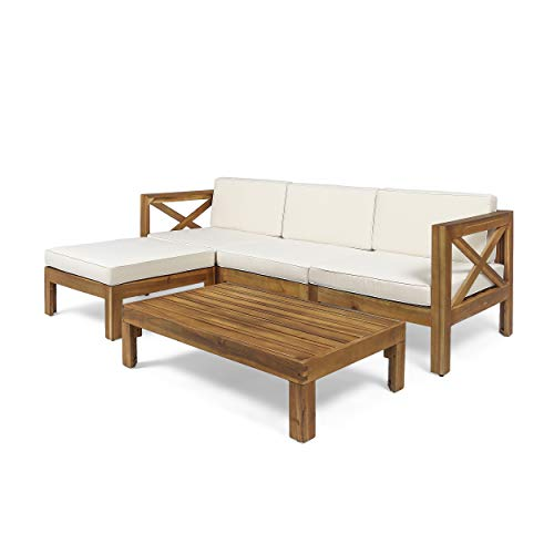 Christopher Knight Home 308260 Mamie Outdoor Acacia Wood 5 Piece Sofa Set, Teak Finish, Beige