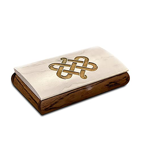 Celtic Box - Irish Wood Love Knot Celtic Jewelry Box - Handmade in USA - Birthday and Anniversary Gifts for Men, Son or Grandson - Small Wooden Keepsake Box with Lid - Personalized Engraved Jewelry Box - Add Your Own Custom Message Inside