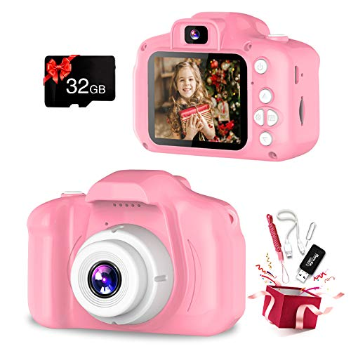 Kids Camera, Dual Lens Selfie Camera for Kids, Best Birthday Gifts for Girls Age 3-12, 1080P HD Digital Video Cameras for Toddler, Toys for 3 4 5 6 7 8 9 10 Year Old Girl with 32GB SD Card (Pink)