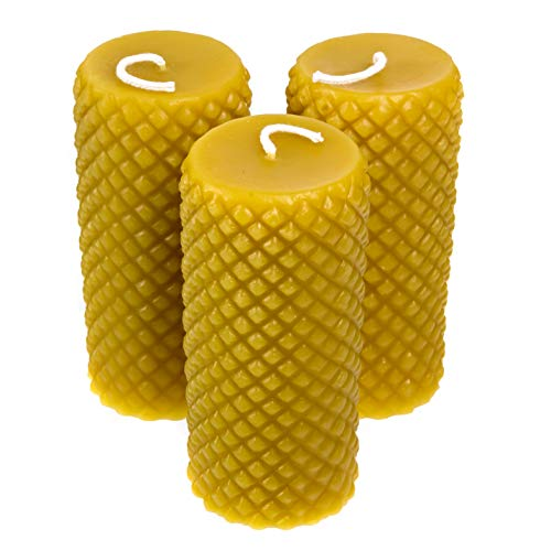 Alternative Imagination 100% Pure Beeswax Diamond Pillar Candles (2x4 Inch), 3 Pack, 20 Hour Burn Time, Hand-Poured, Made in USA