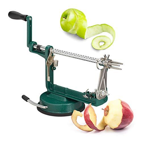 Relaxdays appelschilmachine, appel snijden, schillen, ontpitten, 3 in 1, met zwengel, HxBxD 13,5 x 30,5 x 10,5 cm, groen