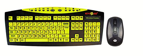 AbleNet Keys-U-See Large Print English USB Keyboard with Wireless Mouse Bundle (USB Receiver Stored Inside Mouse Battery Compartment), Black and Yellow (CD1542)