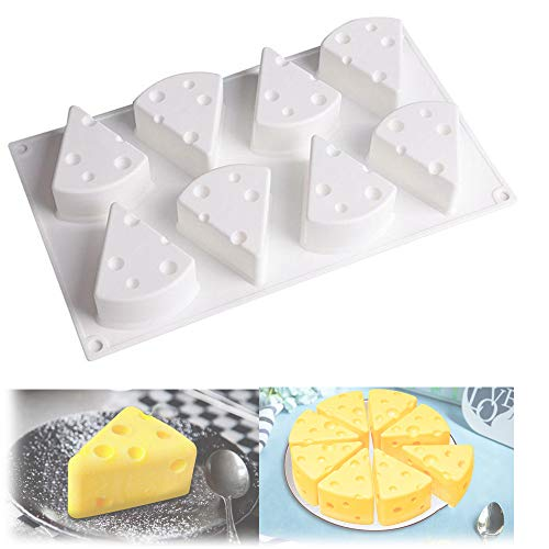 Stallone 3D-Cartoon-Käseform, Antihaft-Dessertform mit 8 Kavitäten für Gebäckschokolade, Käse-Silikon-Backform für Mousse-Kuchen (small)