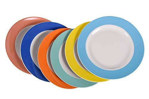 6 Stück Flache Teller im Set aus echtem Porzellan Ø 240 mm (Tafelgeschirr für Gastronomie und Haushalt) (Mehrfarbig)