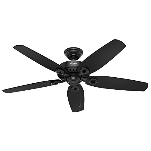 """HUNTER 53294 Builder Elite Indoor / Outdoor Ceiling Fan with Pull Chain Control, 52"""", Matte Black"""