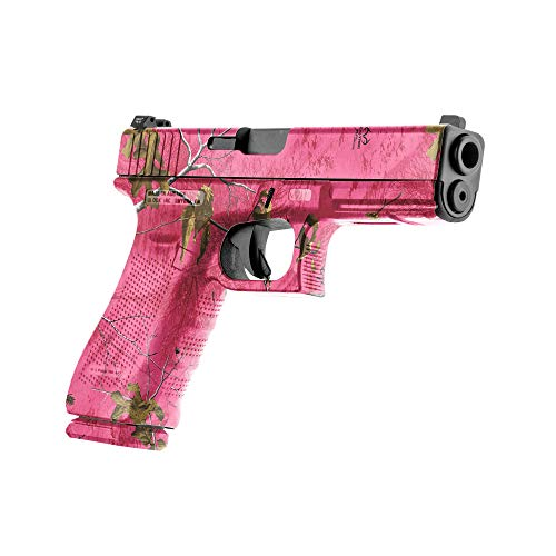 GunSkins Pistol Skin - Premium Vinyl Gun Wrap with Precut Pieces - Easy to Install and Fits Any Handgun - 100% Waterproof Non-Reflective Matte Finish - Made in USA - Realtree Paradise Pink