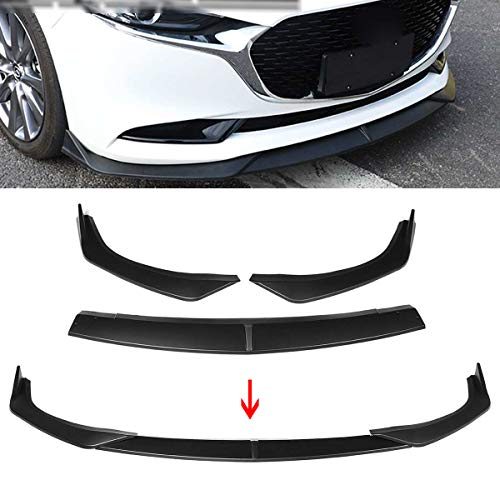 JTAccord PP Kunststoff Auto Frontstoßstange Lip Spoiler Splitter Cover Trim für Mazda 3 Limousine Axela 2019 2020, Frontstoßstange Diffusor Spoiler, 3 Stück/Set